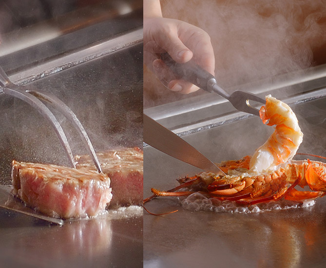 Cooking Shrimp and Meat on a Hot Steel Plate at Kiyoishi